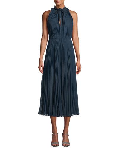 Pleated Midi Dress w/ Self-Tie Neck