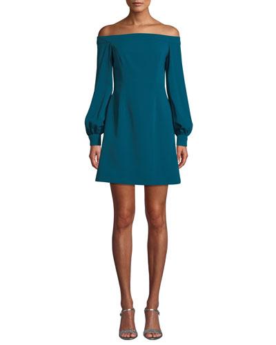 Crepe Off-the-Shoulder Long-Sleeve Dress