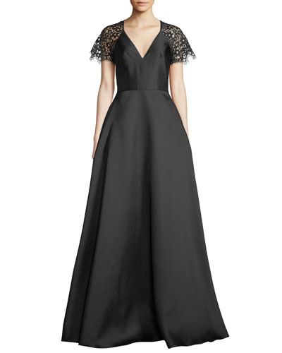 V-Neck Ball Gown w/ Lace Sleeves