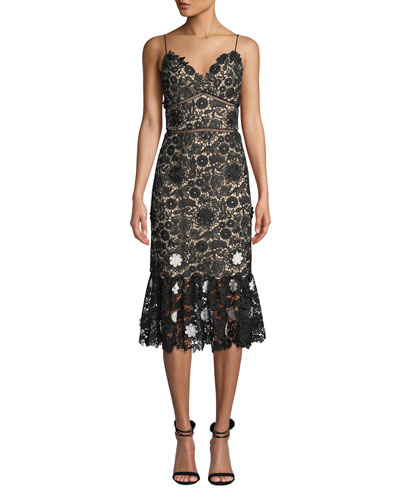 Sleeveless Lace Dress w/ 3D Floral Details