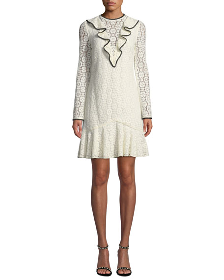 Ml Monique Lhuillier LONG-SLEEVE LACE DRESS W/ RUFFLE FRONT