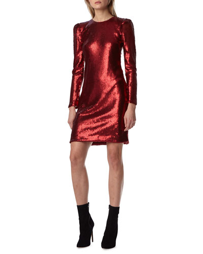 Long-Sleeve Sequin Mini Dress