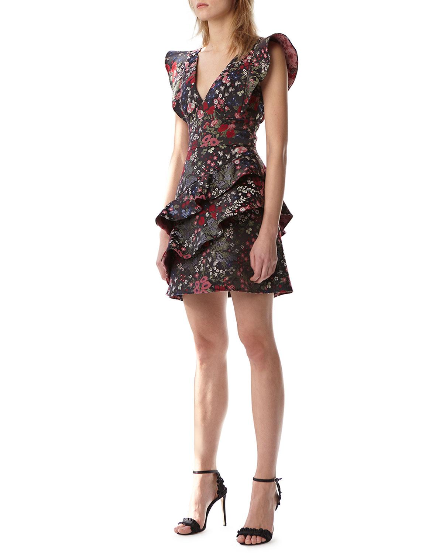 Jacquard Mini Dress W/ Ruffles by Ml Monique Lhuillier