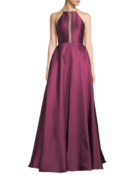 Ml Monique Lhuillier HALTER BALL GOWN W/ SPOTTED MESH