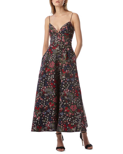 Floral Jacquard Tea-Length Dress w/ Pockets