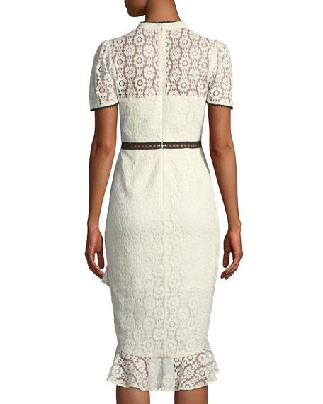 Short-Sleeve Lace Dress w/ Ruffle Hem