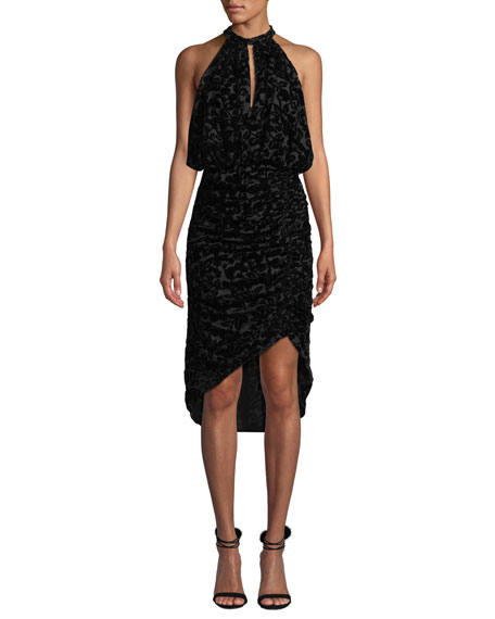Ml Monique Lhuillier VELVET BURNOUT HALTER DRESS W/ RUCHING
