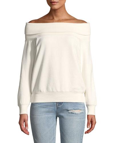 Off-Shoulder Cotton Pullover Sweatshirt