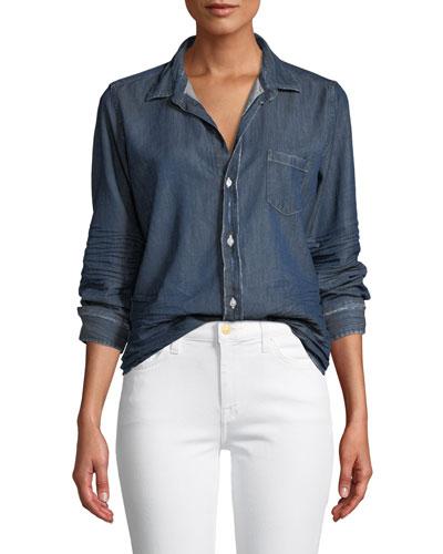 Barry Distressed Button-Front Cotton Denim Shirt