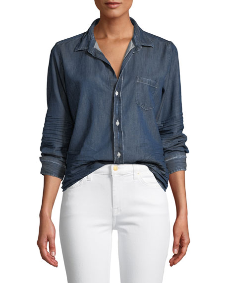 Frank & Eileen Barry Distressed Button-Front Cotton Denim