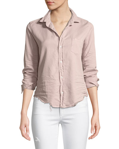 Barry Distressed Button-Front Cotton Shirt