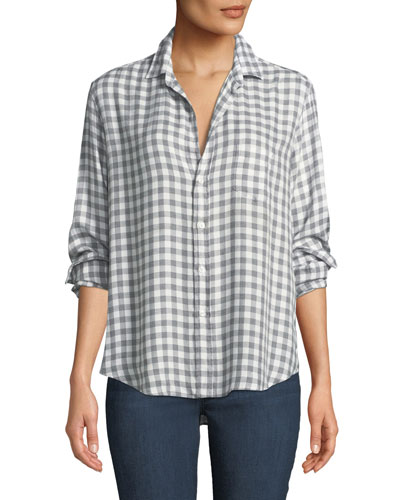 Eileen Long-Sleeve Button-Front Gingham Check Modal Shirt