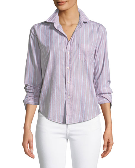 Frank & Eileen Barry Striped Button-Front Cotton Shirt