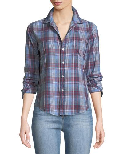 Barry Button-Front Cotton Plaid Shirt
