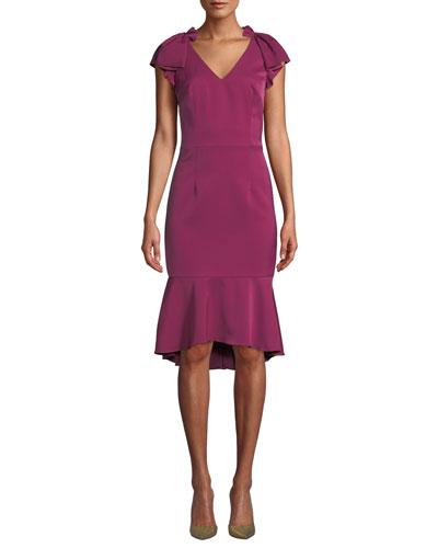V-Neck Flutter-Sleeve Flounce Dress