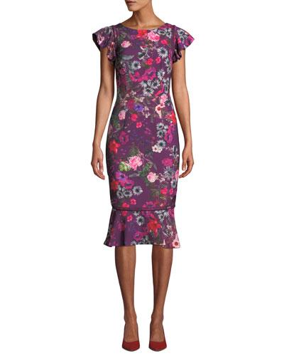 Floral Flutter-Sleeve Flounce Dress