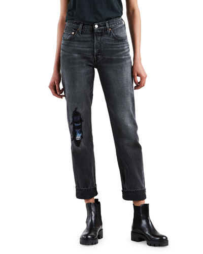 501 High-Rise Straight-Leg Distressed Jeans