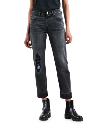 501 High-Rise Straight-Leg Distressed Jeans