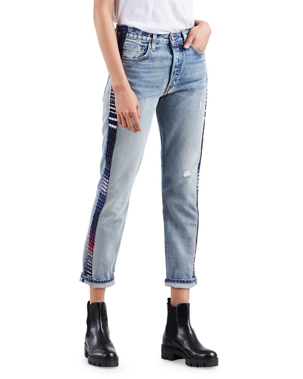 780e1c64db Levi s Made   Crafted 501 Cropped Skinny Jeans with Side Panels ...