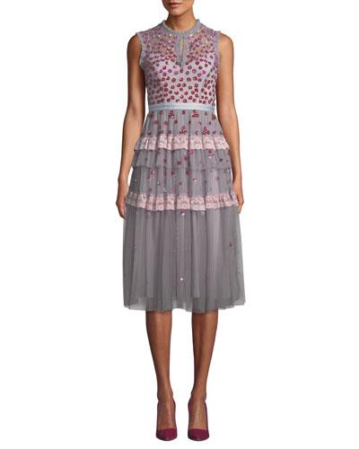 Nova Sleeveless Floral-Applique Tulle Cocktail Midi Dress