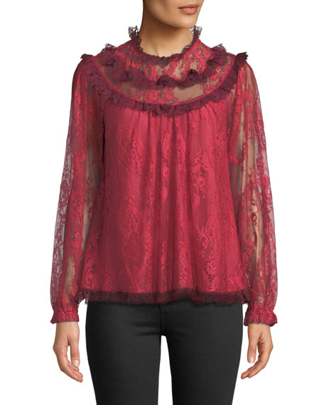 Scallop Frill Lace Long-Sleeve Top, Dark Cherry