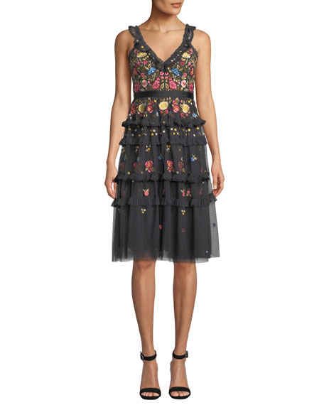 NEEDLE & THREAD Pandora Floral Tulle Ruffle Cami Dress in Black