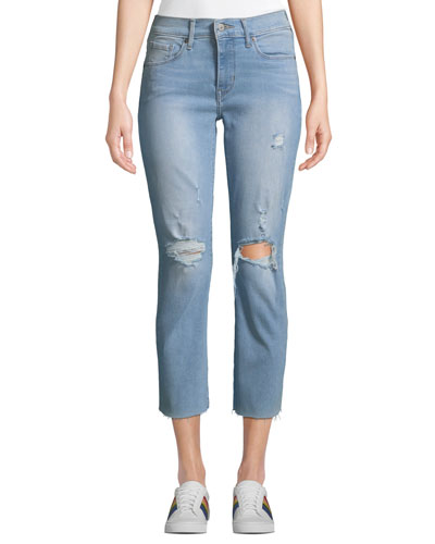 Curvy Straight-Leg Cropped Distressed Jeans