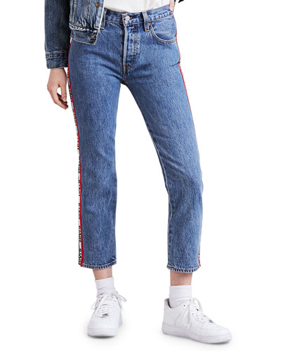 501 Cropped Straight-Leg Jeans w/ Racer Stripes