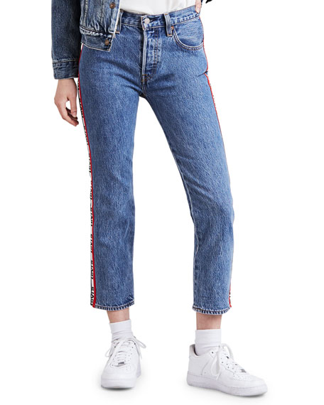 501 Logo-Stripe Crop Straight Jeans In Spectator Sport, Blue