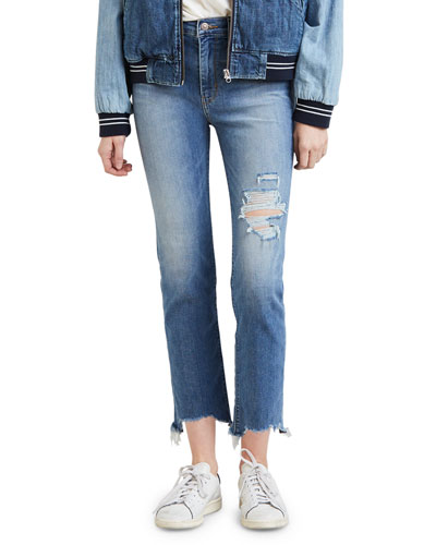 724 High-Rise Distressed Straight Cropped Jeans