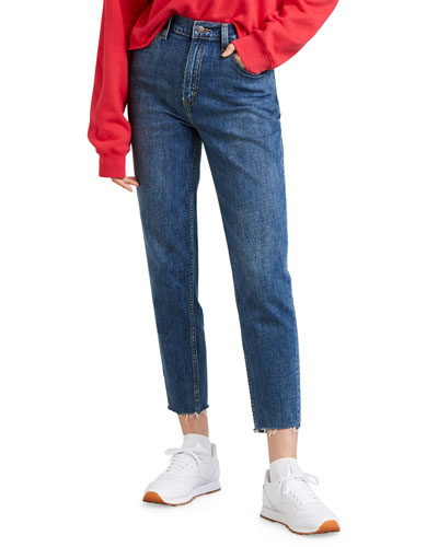 High-Waist Straight-Leg Cropped Mom Jeans