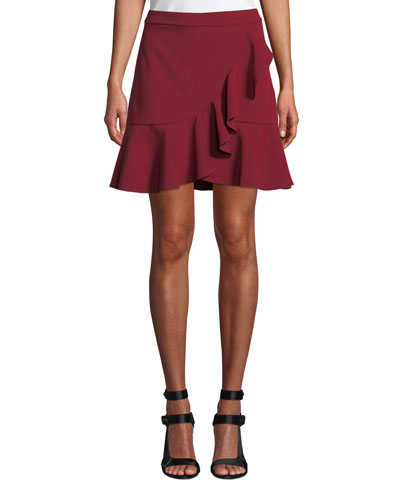 Juno Ruffle-Front Fit-Flare Skirt