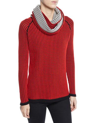 Plus Size Chain Stitch Cashmere Sweater with Scarf