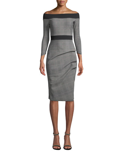 Larissa Off-the-Shoulder Plaid Dress