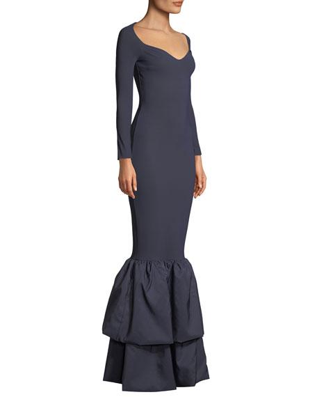 Herma Tiered Mermaid Taffeta Gown
