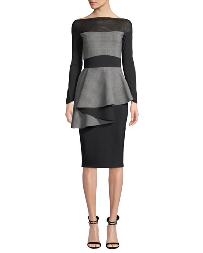 Ritanna Illusion & Plaid Peplum Dress
