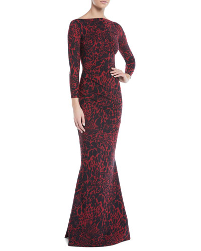 Sotera Leopard-Print Mermaid Gown