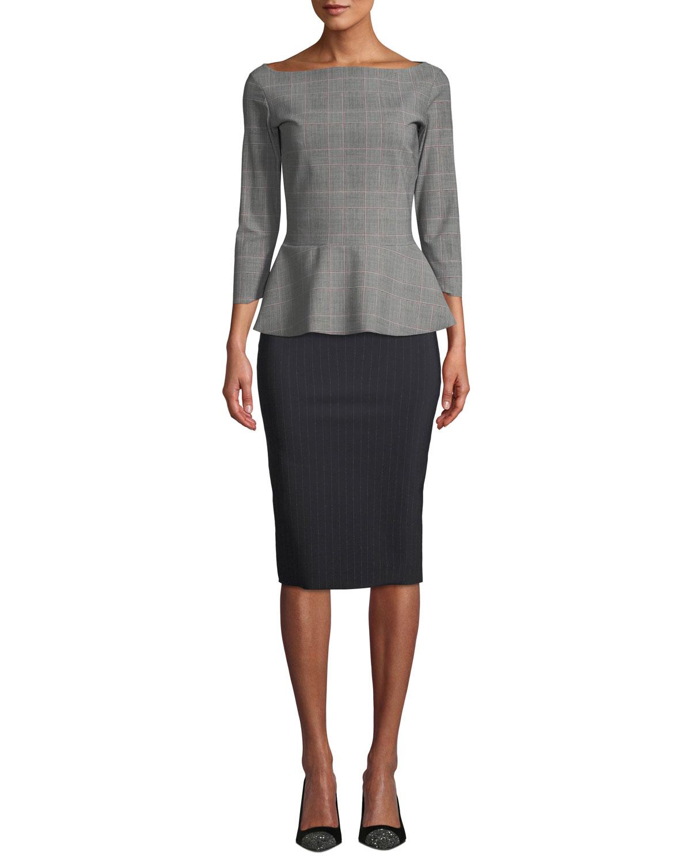 48f0fe9e Chiara Boni La Petite Robe Lumi Pinstripe Pencil Skirt | Neiman Marcus