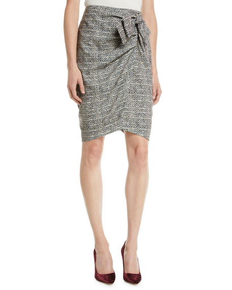 Badgley Mischka Collection Herringbone Wrap Skirt w/ Bow