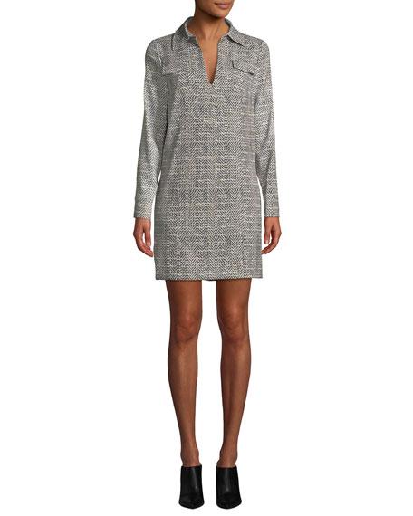 Badgley Mischka Collection Herringbone Long-Sleeve Shirt Dress