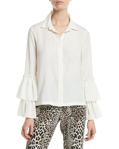 Badgley Mischka Collection Double-Ruffle Sleeve Blouse