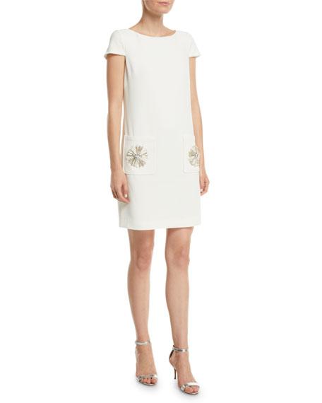 Badgley Mischka Collection Sack Dress w/ Embellished Pockets