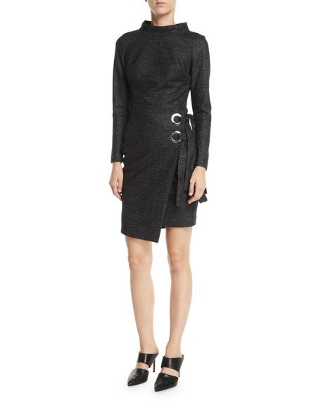 Badgley Mischka Collection Long-Sleeve Wrap-Front Grommet Dress
