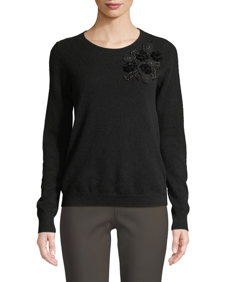 Badgley Mischka Collection Cashmere Sweater w/ Embellishments