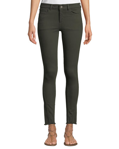 Margaux Mid-Rise Instasculpt Frayed Skinny Jeans