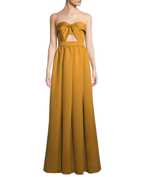 Jay Godfrey Mirabell Strapless Cutout Gown Dress w/