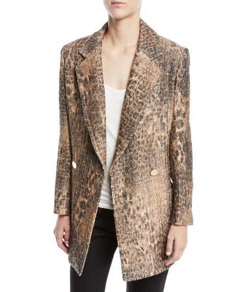 Badgley Mischka Collection Leopard Sequin Double-Breasted Coat