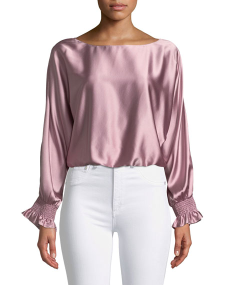 Ramy Brook Adena Boat-Neck Silk Split-Sleeve Top