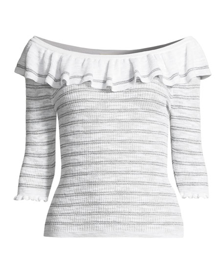 Off-Shoulder Striped Ruffle Top