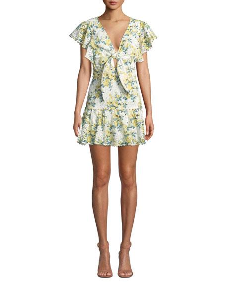 La Maison Talulah Tash Gardenia-Print Ruffle Mini Dress